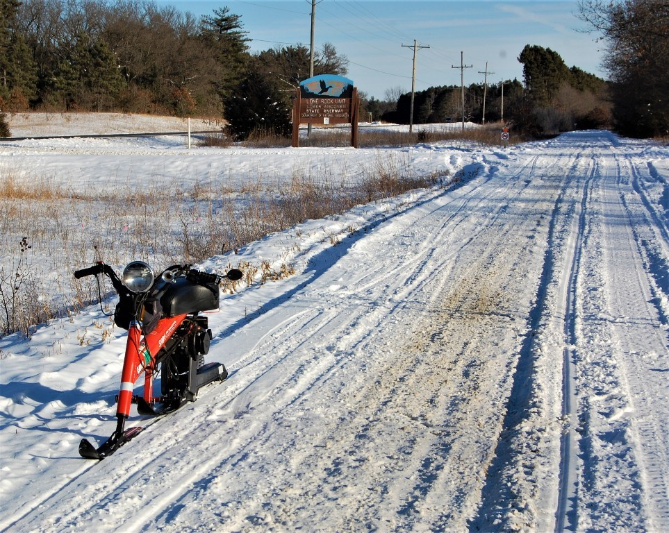 Sno Runner in Lone Rock unit Lower Wisconsin Riverway trail