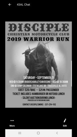 Disciple Christian Motorcycle Club-2019 Warrior Run
